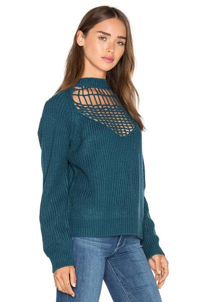 High Neck Hollow Out Loose Solid Color Sweater