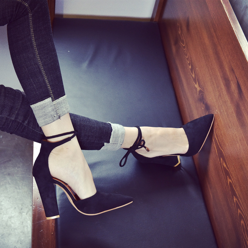 Pointed Tod Ankle Lace UP Wrap High Chunky Heels