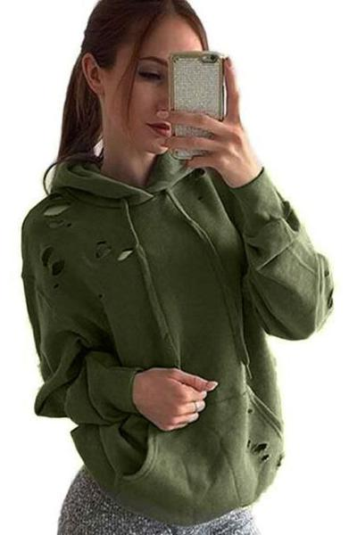 Cut Out Holes Drawstring Solid Color Pocket Loose Hoodie