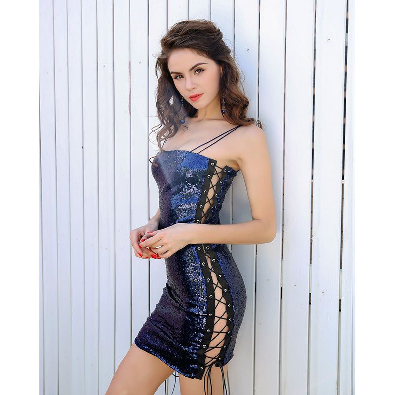 Sexy Sequins Strapless Sleeveless Backless Short nightclub Dress
