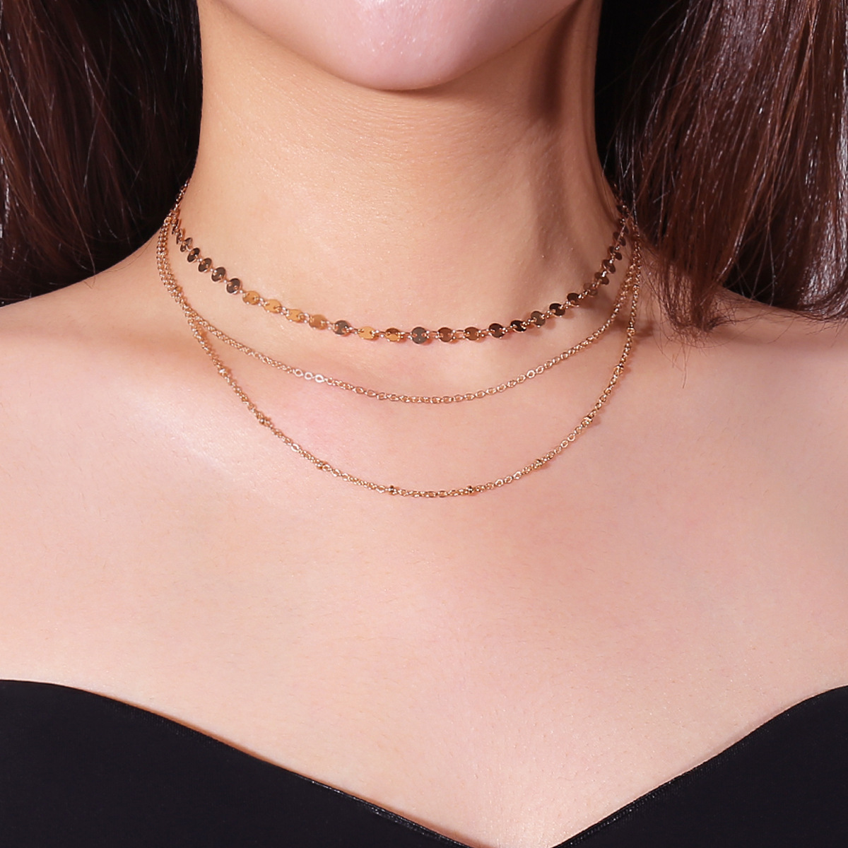 Multi Layer Copper Sequins Copper Bead Chain Clavicle Necklace