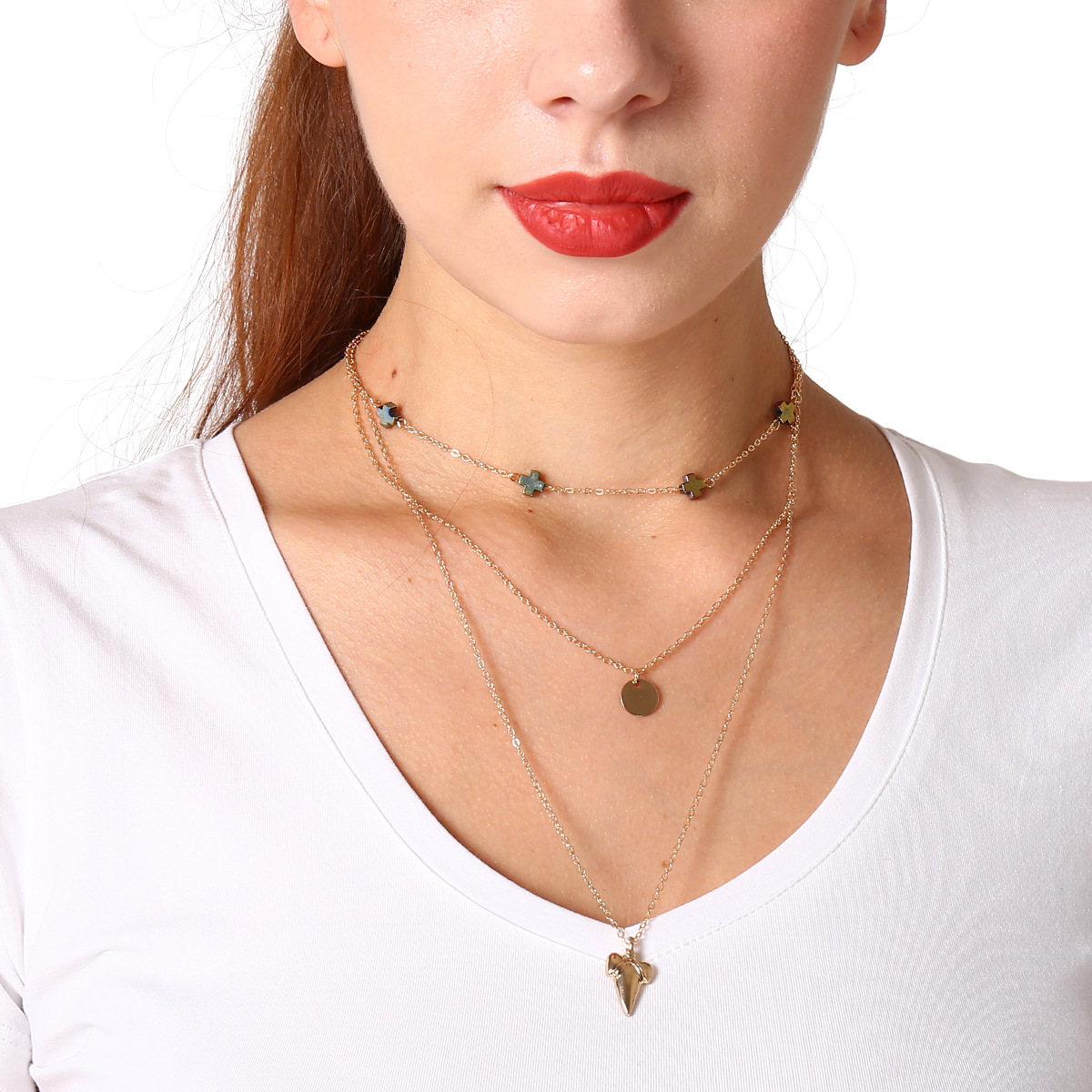 Multi-layer Alloy Cross Long Necklace