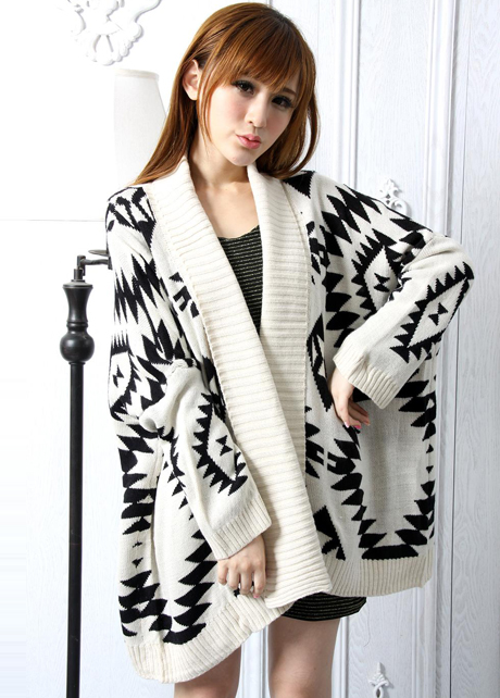 bc54a57af Free Shipping Loose Geometry Pattern Long Sleeve Knitting Wool Cardigans