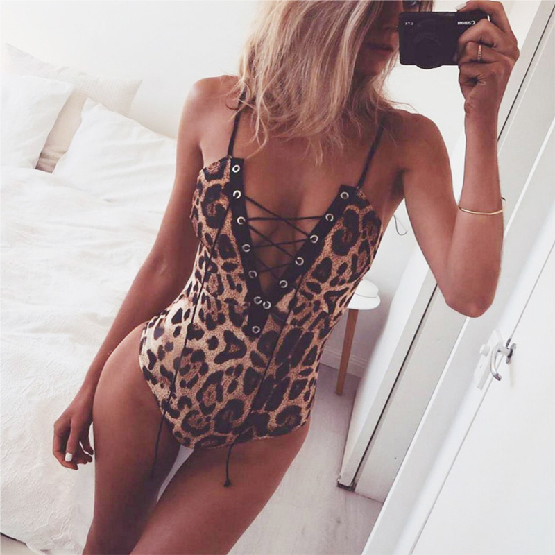 Leopard Spaghetti Straps Hollow Out Short Jumpsuits