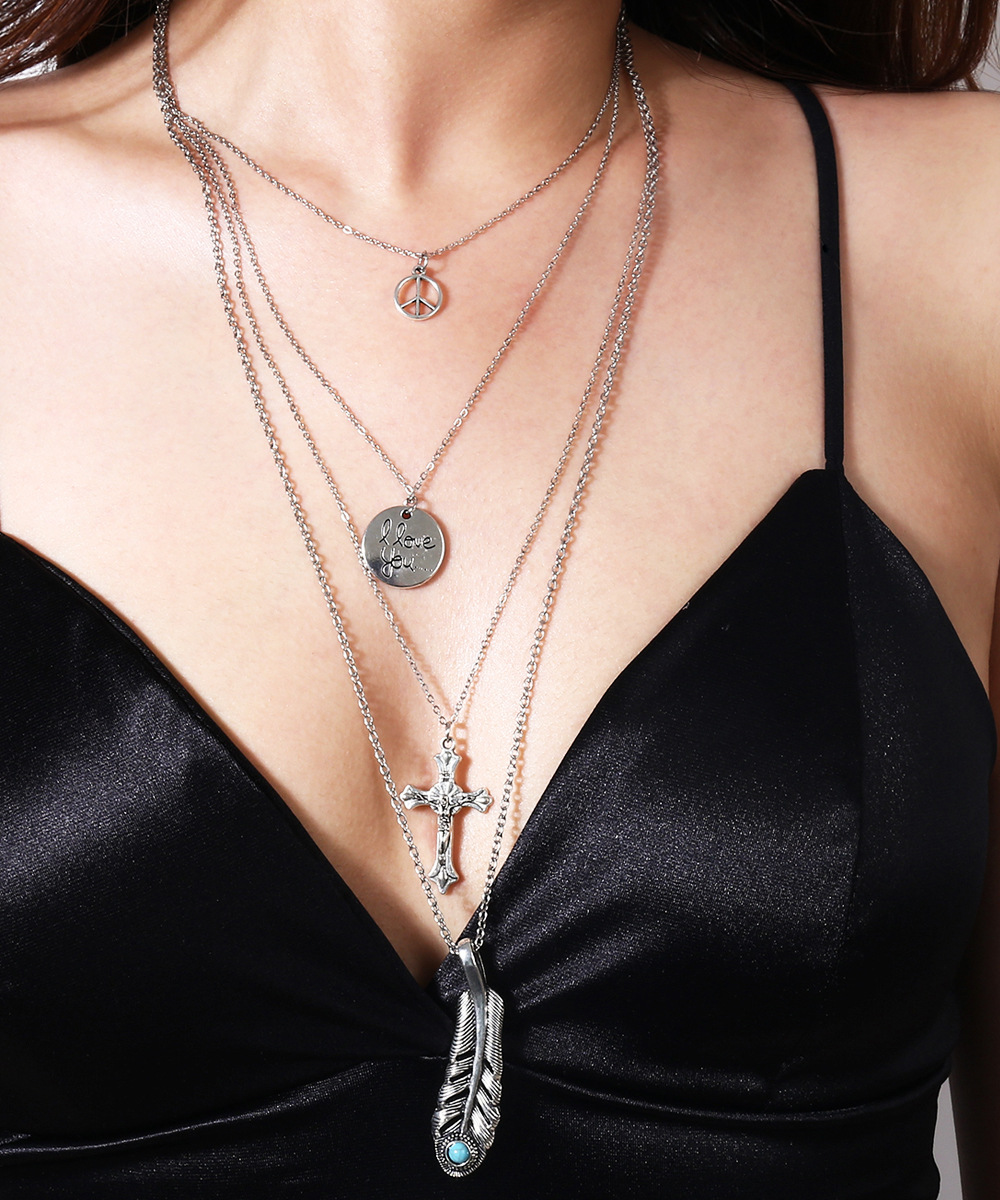 Multielement Alloy Multilayered Clavicle Necklace