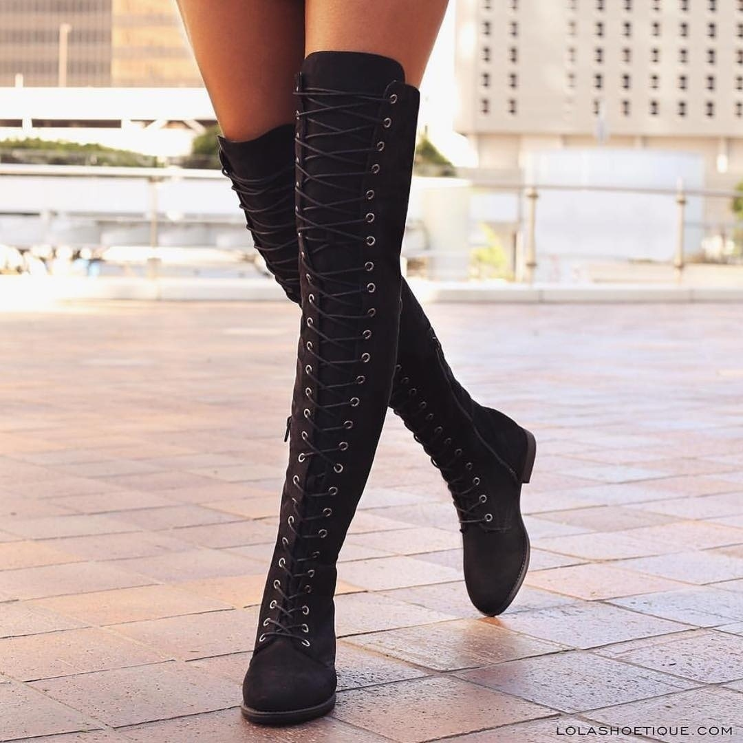 Suede Low Chunky Heel Lace Up Side Zipper Over the Knee Boots