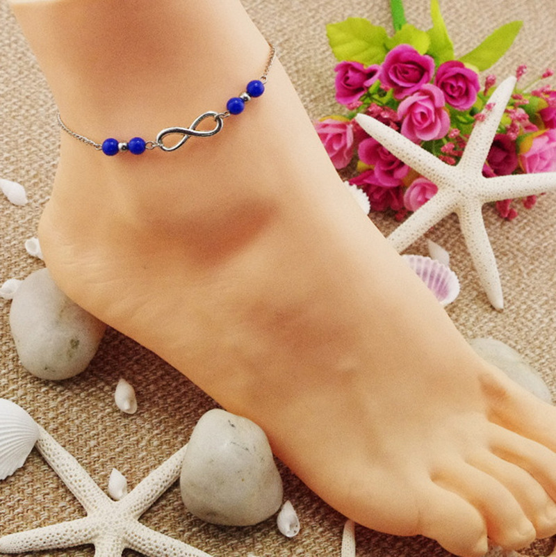 Turquoise Acrylic Beads Endless Eight-character Anklets