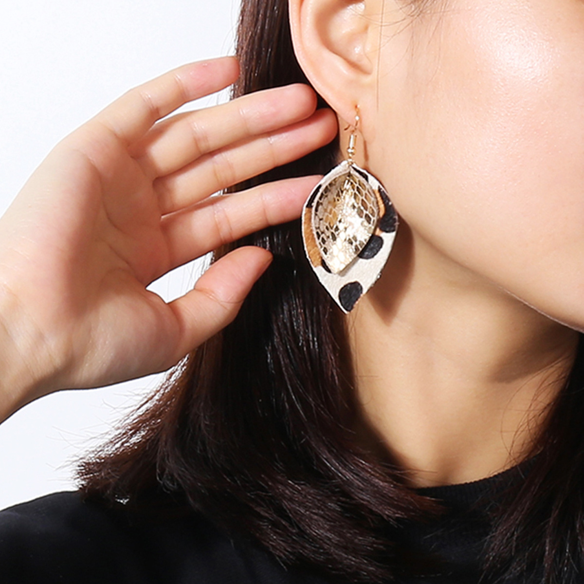 Leaf Shaped Leather Simple Style Earrings