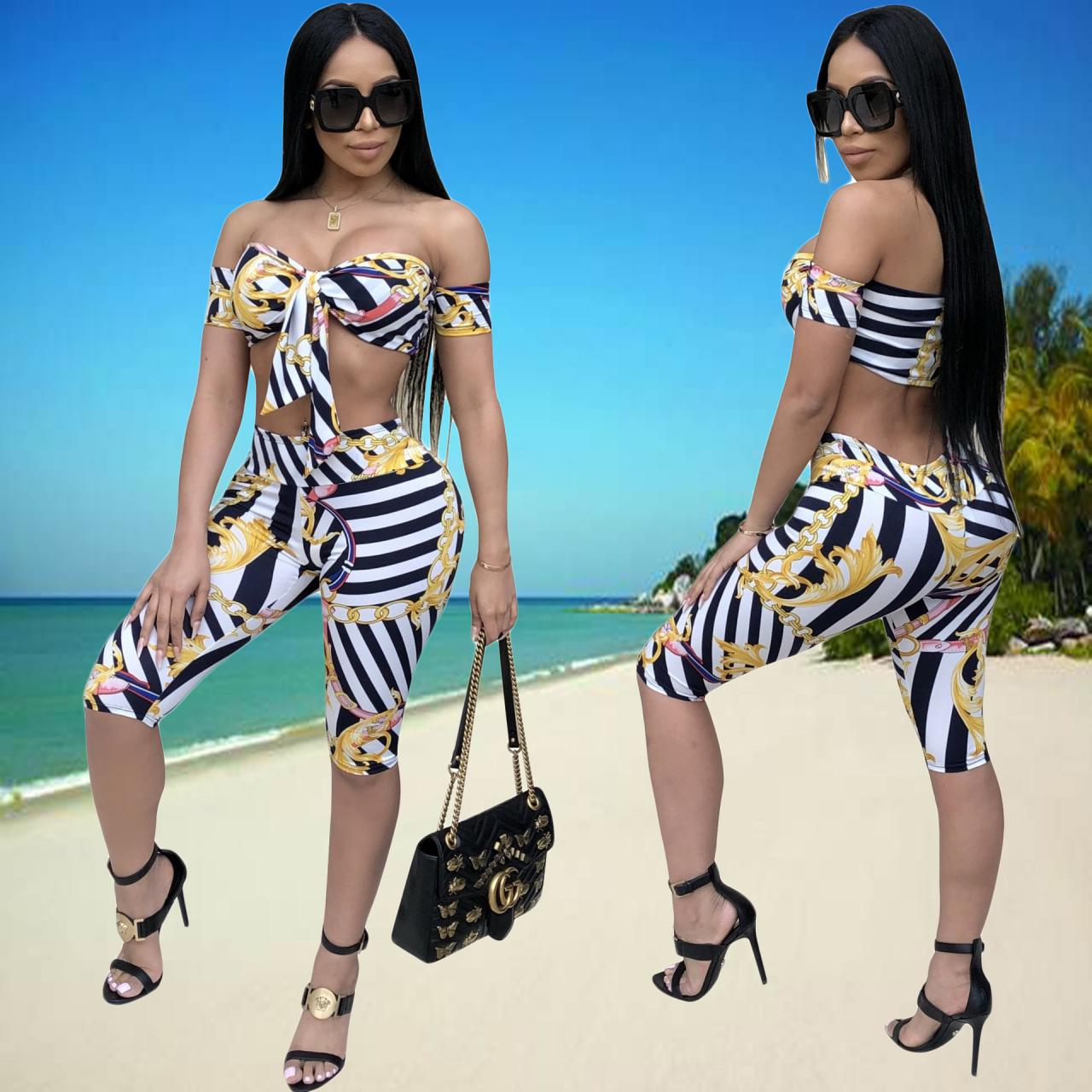 Print Strapless Cami High Waist Knee-length Shorts Two Pieces Set