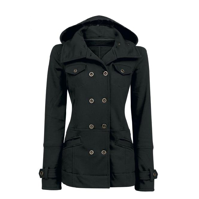Double Breasted Cotton Slim Hoodie Coat