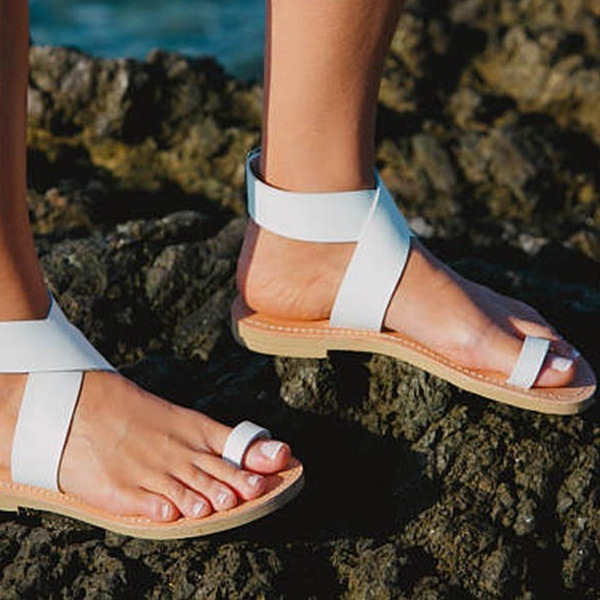 Thong Pure Color Ankle Strap Women Beach Flat Sandals