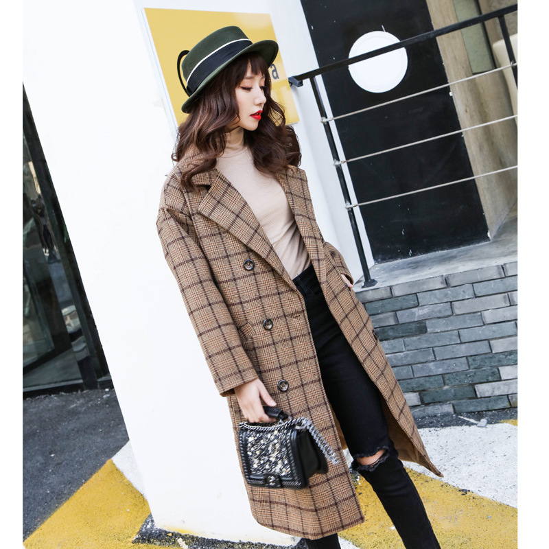 limited guantity suitable for men/women low priced Lapel Collar Plaid Wool Blend Women Oversized Peacoat