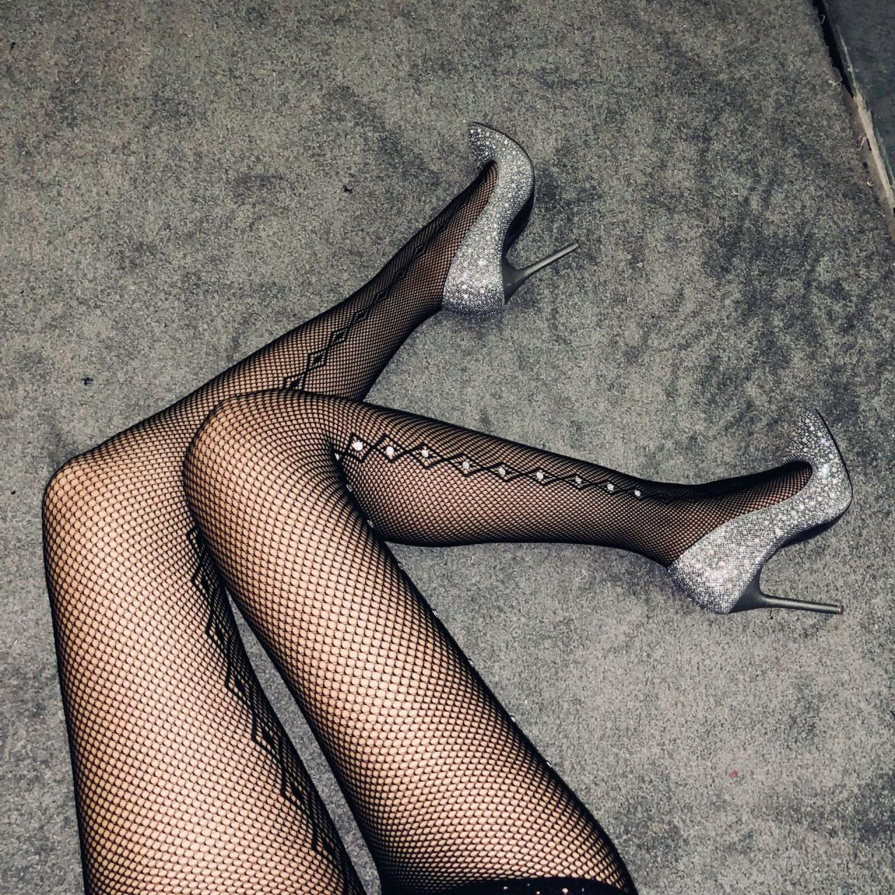 Sexy Side Cross Ironing Drill Fishnet Socks