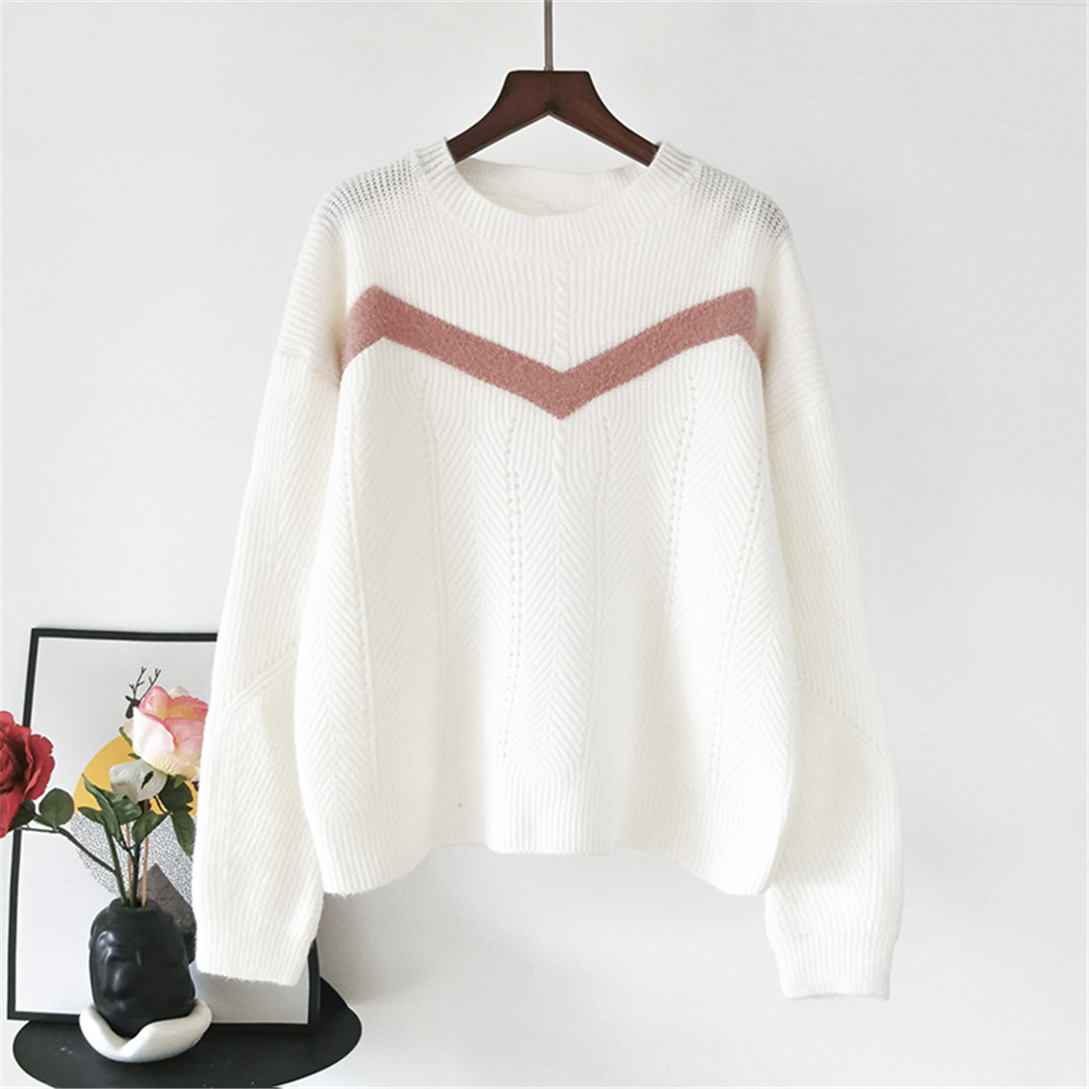 Free Shipping Color Matching Stripe Loose Sweater
