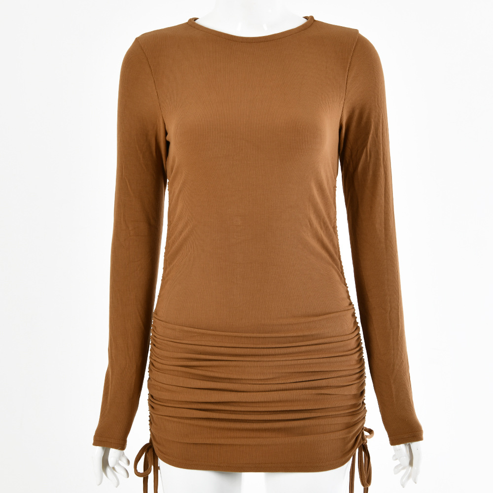 Brown Long Sleeve Soild Drawing Short Dress