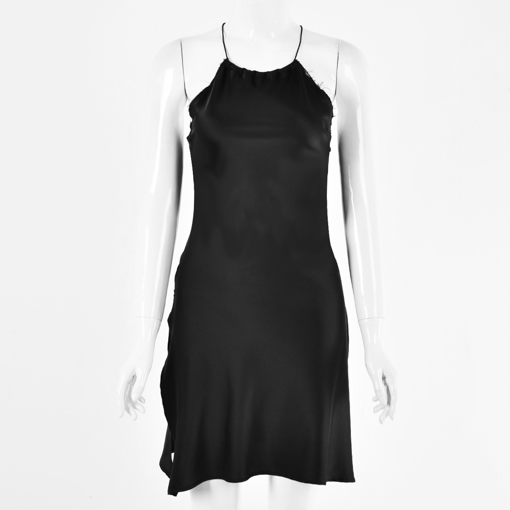 Black Backless Satin Tie Waist Short Dress