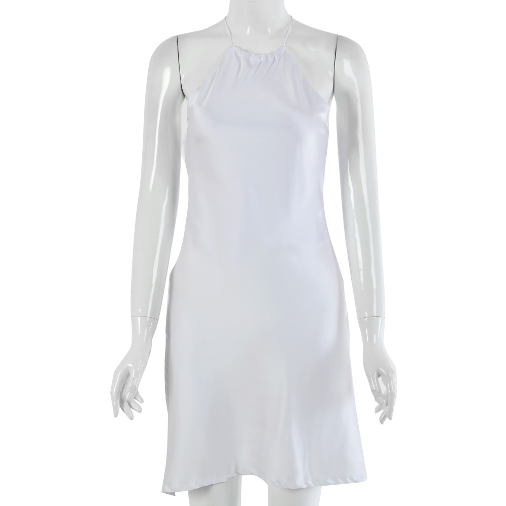 White Backless Satin Tie Waist Short Dress