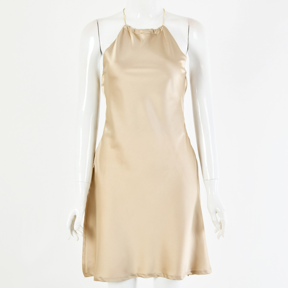 Champagne Backless Satin Tie Waist Short Dress