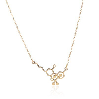 Free Shipping Hot chemical molecular Necklace copper chain Gold Plated Silver retro pattern Pendant Necklace-1
