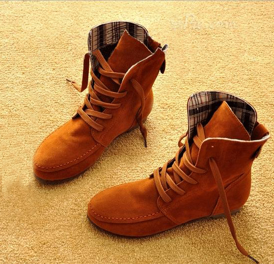 Fringed Lace-up High-Top Flat Boots