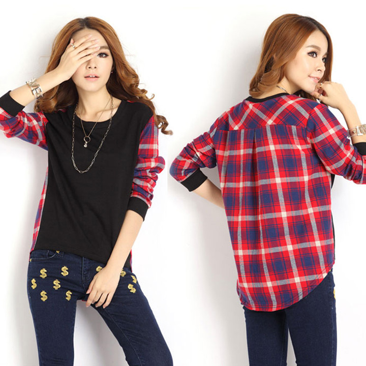 962729e855 Plaid Long Sleeve Loose T-Shirt Blouse on Luulla