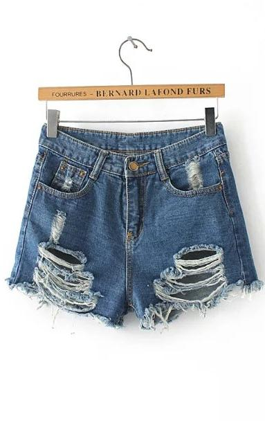Heavily Distressed High Waisted Denim Shorts Featuring Front and Back Pockets