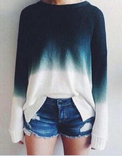 Gradient Color Pullover Retro Casual Sweater