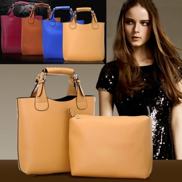 Ladies Tote Bag Synthetic Leather Handbags Adjustable Handle Brand Shopping Bag