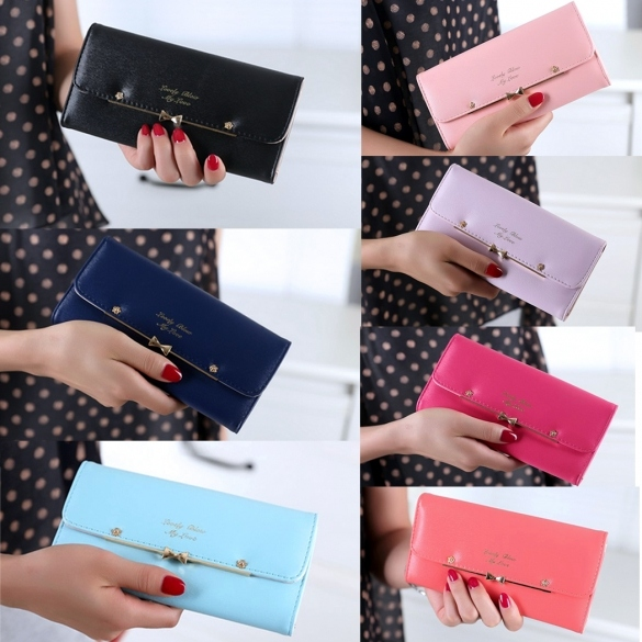 New Fashion Women Elegant PU Leather Weave Design Long Wallet Purse