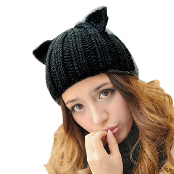 7b15c7ef5aeb7 New Korean Women s Winter Warm Hat Devil Horn Knitted Hats Cat Ears  Knitting Caps Female Hat