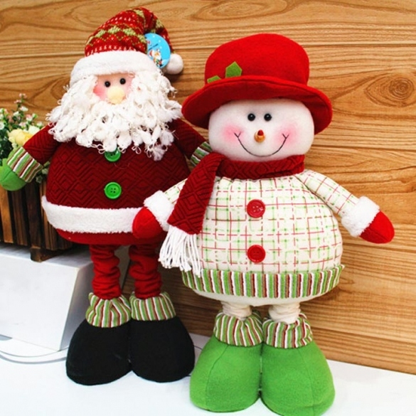 Lovely Christmas Decoration Supplies Santa Claus Snowman Flexible Legs Flexible Ornament