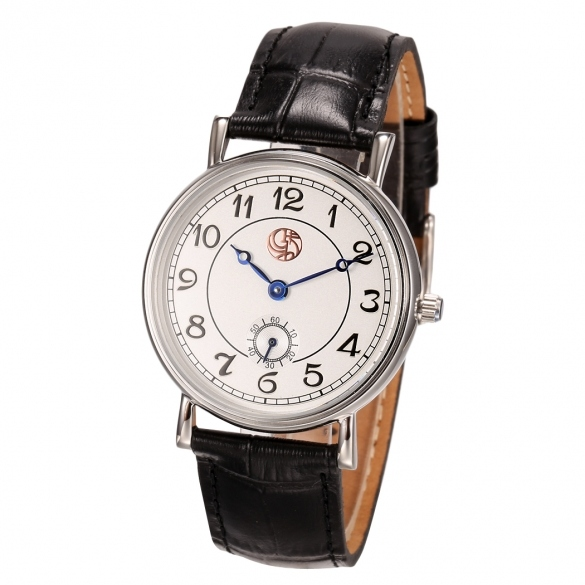 Men Fashion Leather Watchband Large Dial Analog Mechanical Automatic Steel Wrist Watch