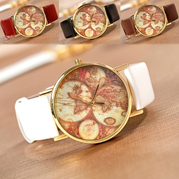 World Map Globe Leather Alloy Unisex Analog Quartz Wristwatch