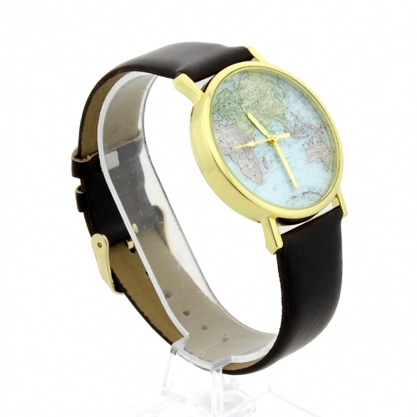 Leather Watches With World Map Watch Dial Unisex