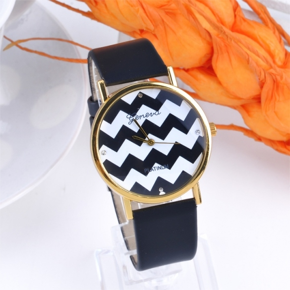 Popular Geneva Stripes Watch PU Leather Analog Quartz Wrist Watches