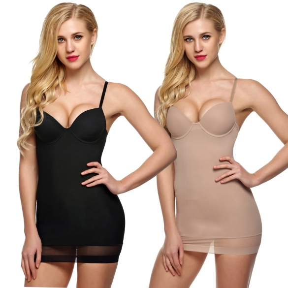 On Clearance Ekouaer Women Sexy Padded Body Shaper Slim Underbust Shaperwear Tummy Control Sleeveless Strap Dress