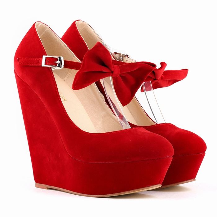 a8ec1650730 Thick Bottom Suede Club Bowknot Wedges Heels Shoes