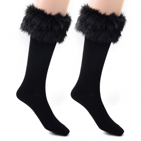 Japan Style Winter Snow Socks With Synthetic Fur Boot Socks