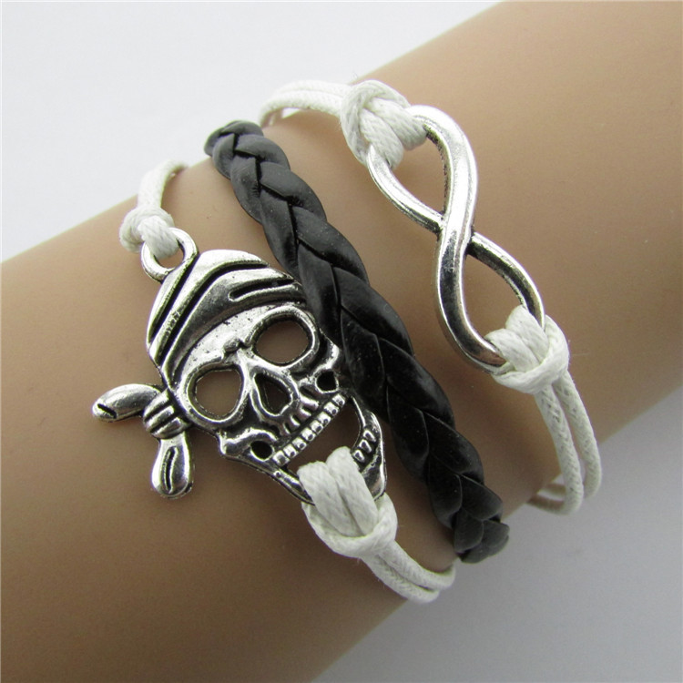 Joker Skulls Number 8 Multi-layer Leather Cord Bracelet