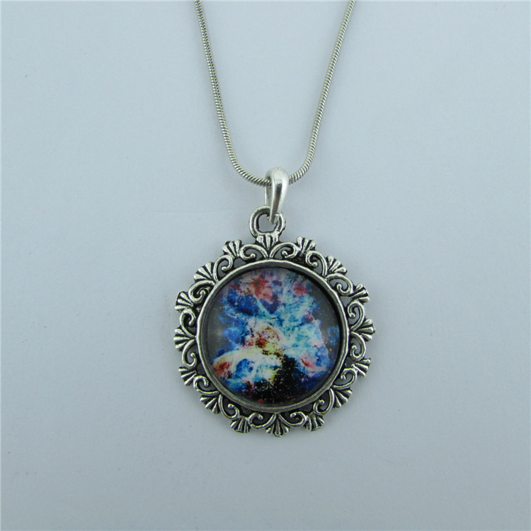 Fashion Metal Lace Colorful Starry Sky Pendant Necklace