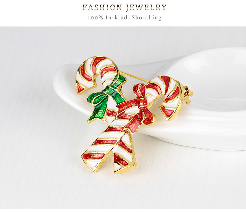 High quality Christmas Candy Cane Brooch