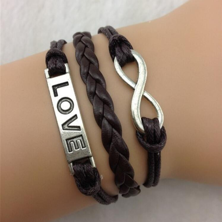 Romantic Brown Hand-made Leather Cord Bracelet