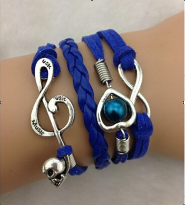 Heart Music Note Fashion Multilayer Woven Bracelet