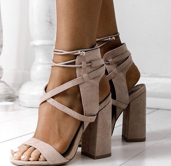Suede Lace Up Block Heel Sandals On Luulla