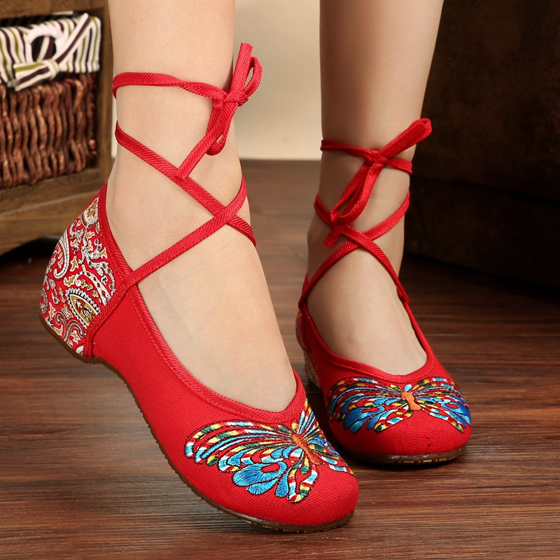 Butterfly Embroidery National Style Heels Shoes