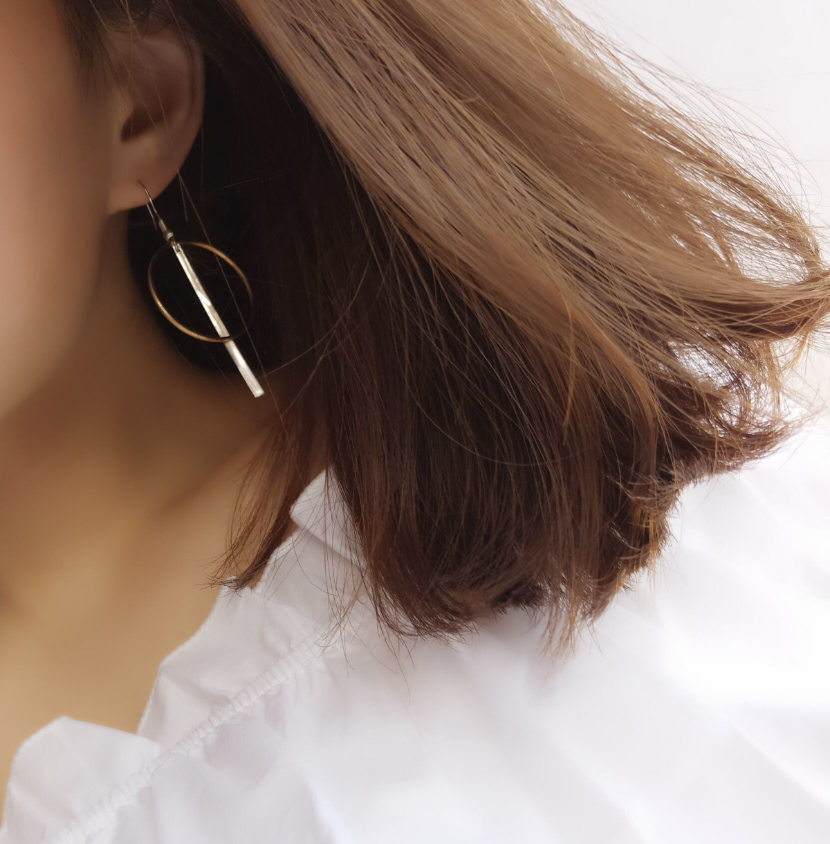 Geometric Circular Round and Bar Earring