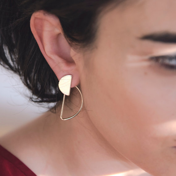 Gold or Silver Semicircle Geometric Stud Earrings