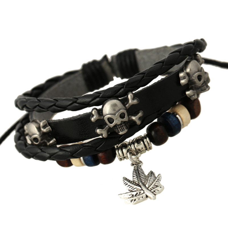 Personality Skull Leaf Leather Bracelet