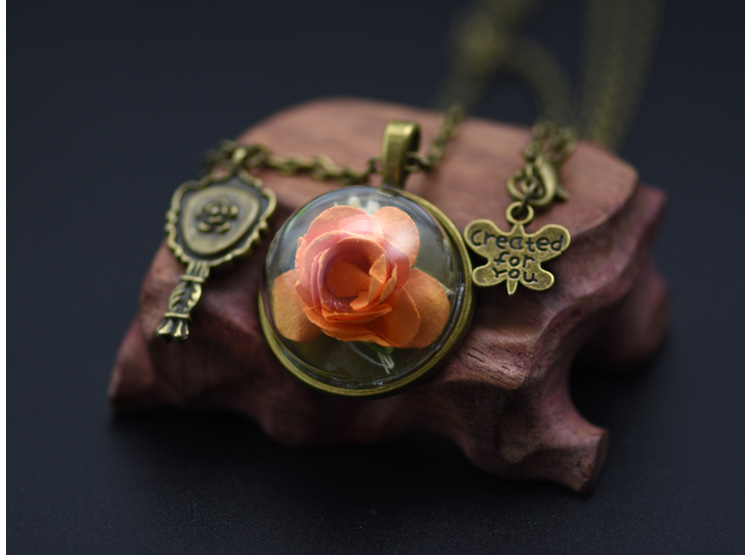 Transparent glass ball cover letter English Rose Pendant Necklace