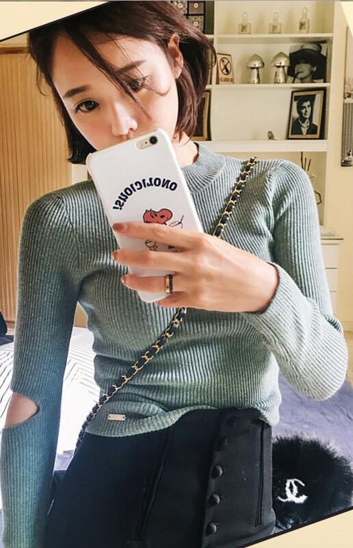 Fashon Long Sleeve High Neck Slit Long Sleeve Slim Knit Sweater